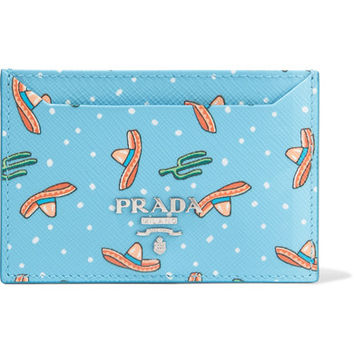 Prada - Printed textured-leather cardholder