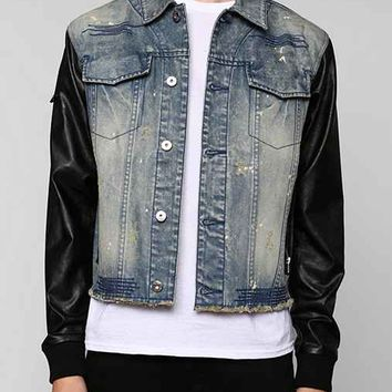 Black Apple Faux-Leather Sleeve Broadway Denim Jacket- Indigo M