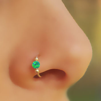 NOSE RING, Fake Nose Ring, Opal Nose, Gold filled, Ring, Fake Piercing, Fake Ring Nose, Green Opal