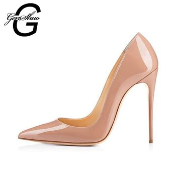 GENSHUO Brand Shoes Woman High Heels 10CM Pumps Red High Heels Women Shoes High Heels Wedding Shoes Pumps Black Nude Shoes Heels