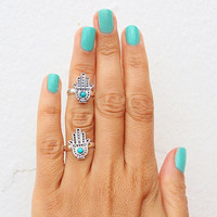 Retro Crystal Hand Shape Ring