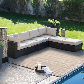 Outdoor Wicker Resin 6-Piece Sectional Sofa Patio Furniture Conversation Set with Tan