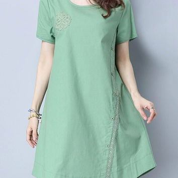 Vintage Lace Crochet Short Sleeve O-Neck Women Dresses