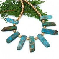 Jasper and Pearls Stick Collar Necklace, Aqua Gold Gemstones Handmade Fashion Jewelry for Women