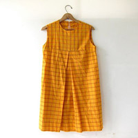 Vintage A Line Dress. Yellow Babydoll Print Summer Dress. Mini Sun Dress. Mod Dress. Striped Dress.