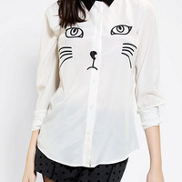 Urban Outfitters - Reverse Cat Button-Down Shirt