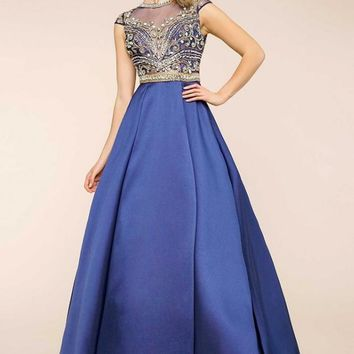 Mac Duggal 65828H Cap Sleeve Ball Gown