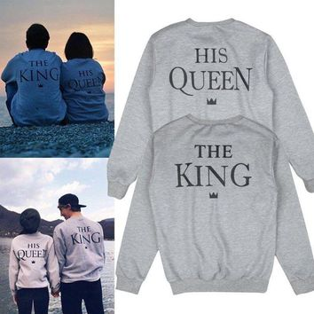 Couple Matching King and Queen Printed Sweatshirt Pullover Jumper Lovers Tops US