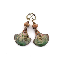 Green and Pink Swirl Copper Industrial Style Metal Leverback Earrings