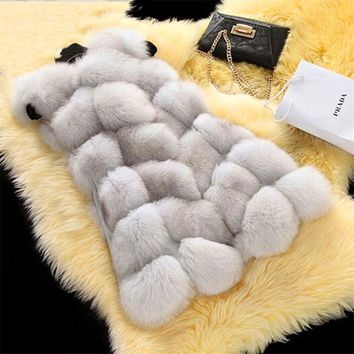 HZIJUE New Arrival Winter Warm Coat Women Fur Vest Fashion Women Import Coat Fur Vest High-Grade Faux Fur Coat Fox Fur Long Vest