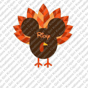 Thanksgiving Turkey Personalized with Name/Date Mickey Mouse Head Disney Printable Digital Iron On Transfer Clip Art DIY Tshirts