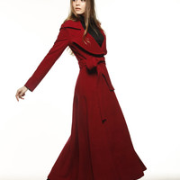 Wine Red Coat Big Lapel Women Wool Winter Coat by Sophiaclothing