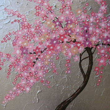 cherry blossom tree trees large abstract art zen oriental gray grey silver pink purple apricot Japanese look painting panels wall paintings