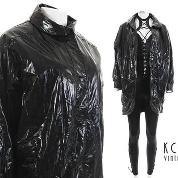 "Shiny Raincoat XL 60"" Bust Batwing Vinyl Rain Jacket Black w/ Square Print Oversized Jacket Avant Garde Futuristic Y2K 80s Clothing Size XL+"