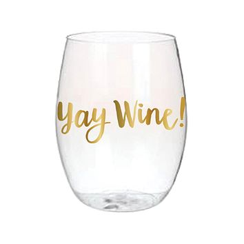 "SLANT COLLECTIONS ""YAY WINE"" STEMLESS WINE GLASS SET/4"