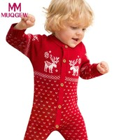 2018 Newborn Baby Clothes Baby Rompers Unisex Overall Long Sleeve  Clothes Sweaters Coat Deer Printed Baby Boy Clothes
