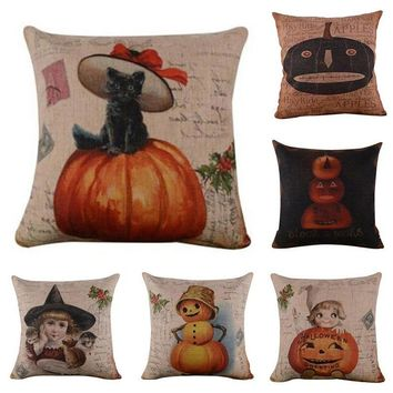 Pumpkin Black Cat Pattern Cushion Cover  Halloween Pillow Cover Square Pillowcase for Room Sofa Home Decoration Pillow Case