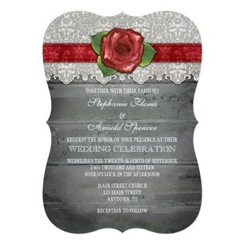 Red Gray Rustic Wood Rose Wedding Invite