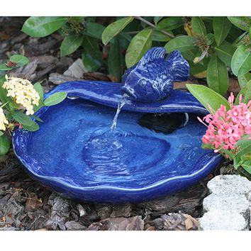 Smart Solar-Ceramic Solar Koi Fountain Blue