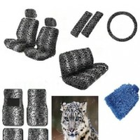 New Premium Grade 16 pieces Snow Leopard Interior Seat Cover set With Front Low Back Seat Covers, Rear Bench Seat Cover 4 Pieces Gray Leopard Floor Mat set WITH FREE Microfiber WASH MITT