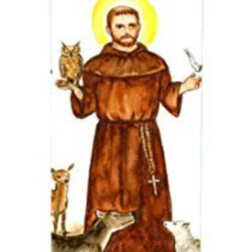 St Francis of Animals 7 Day Scented Candle with Charm Pendant and Laminated Prayer Card Gift Set