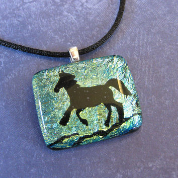 "Horse Necklace, Cowgirl Jewelry, Horse Jewelry, You Choose Cord Length 14"" to 30"" - Dance Away - 4110 -3"