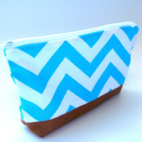 Aqua and White Chevron Makeup Bag with Vegan Leather Botton, Large Cosmetic Pouch, Poncho Style, Zippered, Lined, Canvas, Under 20, Southern