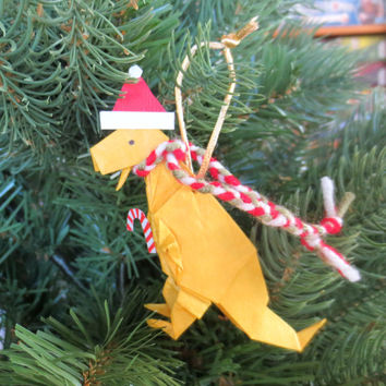 Origami Dinosaur Ornament, T-Rex with Santa Hat and Scarf, Yellow