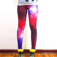 Purple Galaxy Leggings womens leggings plus size leggings yoga leggings pants womens clothing fashion valentine's day gift idea