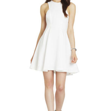 Contrast Lace Panels Dress in White/Tan - BCBGeneration
