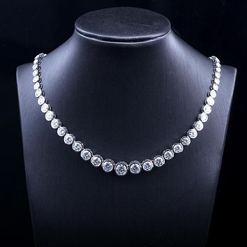 Modern Love 15ct DEF Color Diamond Necklace in Genuine 18K 750 White Gold For Women