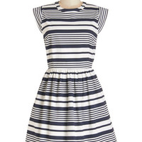 ModCloth Nautical Mid-length Cap Sleeves A-line Pier Potluck Dress