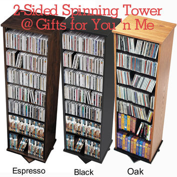 "Prepac 53"" 2-Sided Spinning Media Storage Tower CD & DVD"