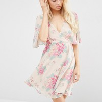 ASOS Wrap Front Angel Sleeve Dress in Pretty Hydrangea Print at asos.com