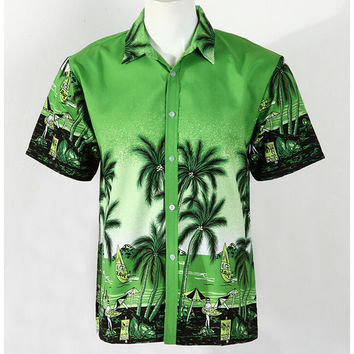 Hot Men Aloha Shirt Hawaiian Cruise Tropical Luau Beach Hawaiian Party Palm Green grass green L normal version