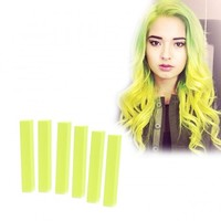 Lime Green Hair Dye - 6 Electric Yellow Green Hair Chalks | HairChalk