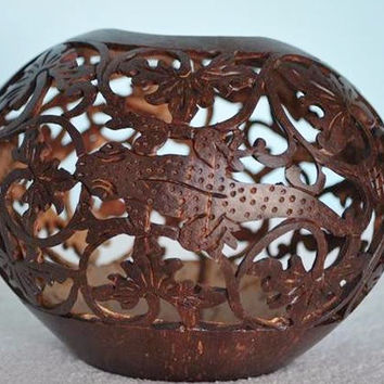 Carved Coconut with Lizard Design