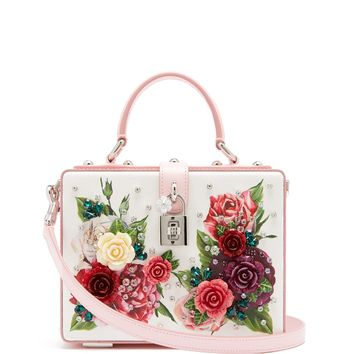 Embellished floral-print leather box bag | Dolce & Gabbana | MATCHESFASHION.COM