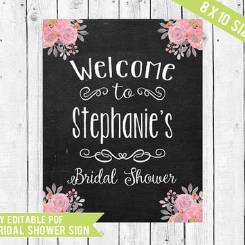 Bridal Shower Sign // Welcome Sign // Bridal Shower Welcome Sign // 8x10 // PDF you edit with ADOBE READER