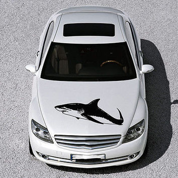ANIMAL SHARK EVIL FISH DESIGN HOOD CAR VINYL STICKER DECALS ART MURAL SV1572