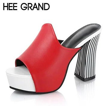 HEE GRAND Sexy Gladiator Sandals 2017 Platform High Heels Peep Toe Shoes Woman Summer Casual Pumps Fashion Mules XWZ4176