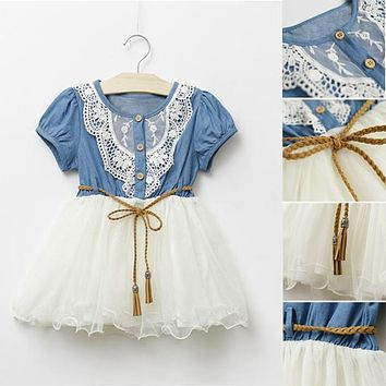 High Quality Girls One piece Tutu Dress Lace Gauze Dress With Belt Clothing