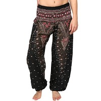 Black & Red Peacock Harem Pants