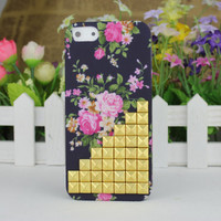 Golden Stud Rose Hard Case Cover for Apple iPhone5 Case, iPhone 5 Cover,iPhone 5 Case, iPhone 5g