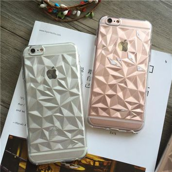 Soft TPU Cover For Apple iPhone5 5S SE 6 6S 6Plus 6SPlus 7 7 Plus Case Cases Phone Shell Top Popular 3D Stereo Diamond Shaped