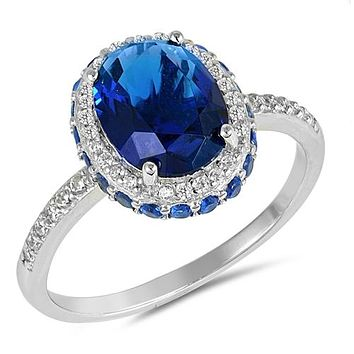 A Perfect 5CT Oval Cut Blue Sapphire Halo Ring