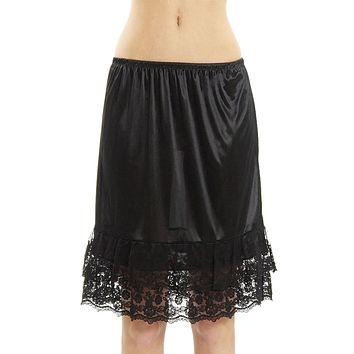Melody double lace satin half slip skirt extender