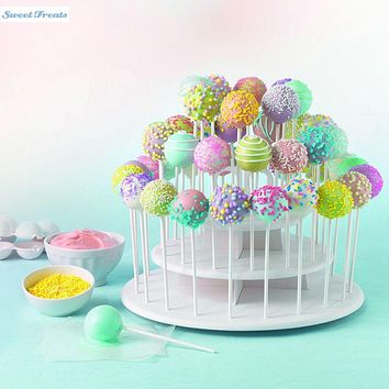 Sweettreats 3 Tier Round White Cake Pop Stand, Holds 40 Cake Pops Holds up to 42 cake pops or 21 cupcakes