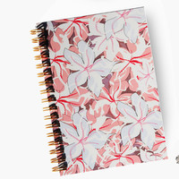 Sweet notebook with illustration of pink flowers, gold spiral bound, sketchbook, journal, graphic