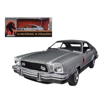 1976 Ford Mustang II Stallion Silver / Black 1/18 Diecast Car Model by Greenlight